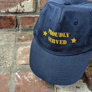 """Soft """"Proudly Served"""" Star Graphic Blue Cap Hat"""